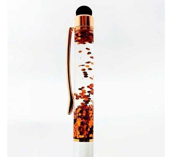 caneta esferografica touch branca e cobre 1 rotated