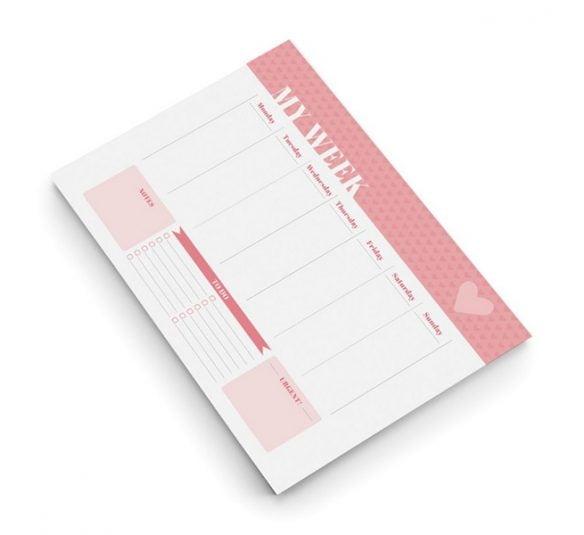 planner de mesa semanal pink stone otima