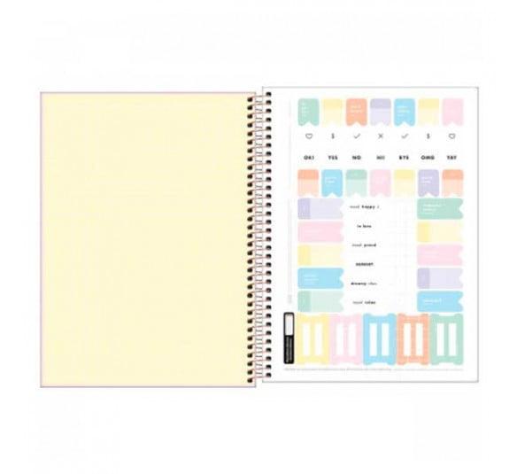 caderno espiral capa dura universitario 12 materias happy 192 folhas 305456 1