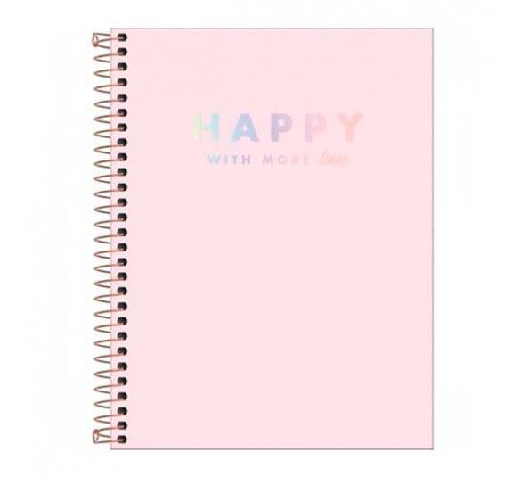 caderno espiral capa plastica colegial 10 materias happy rosa 160 folhas 305553 e1