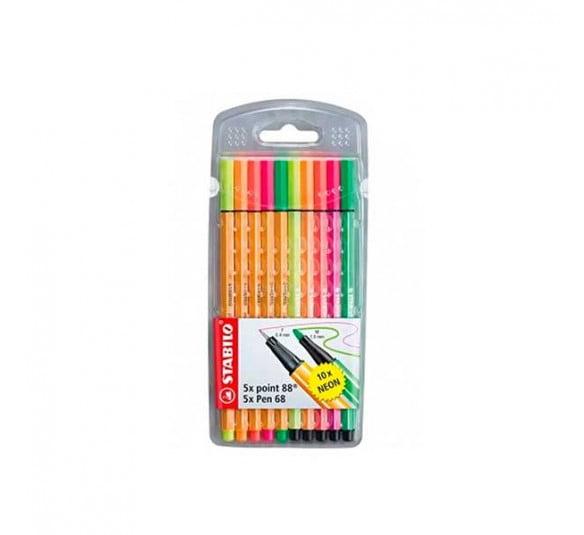 caneta stabilo 5 point 88 5 neon