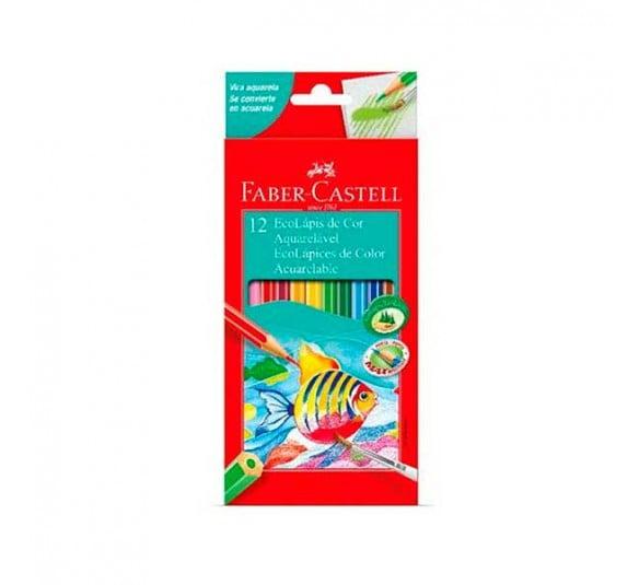 lapis de cor aquarelavel 12 cores faber