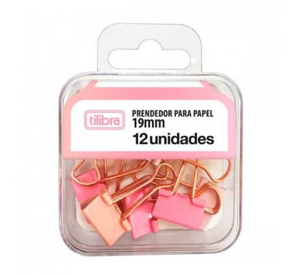 prendedor de papel 19mm rosa pastel 12 unidades 315788 e1