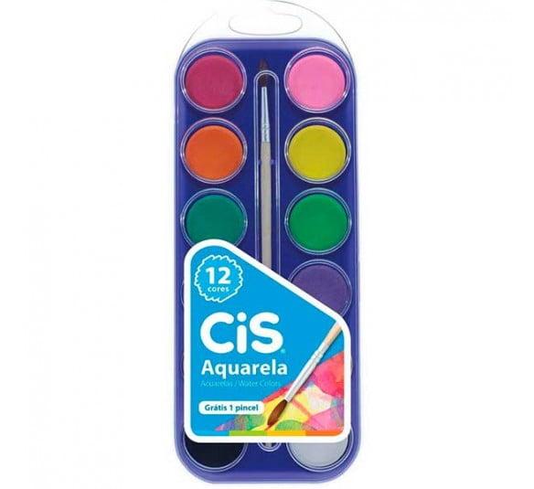 aquarela escolar cis estojo 12 cores