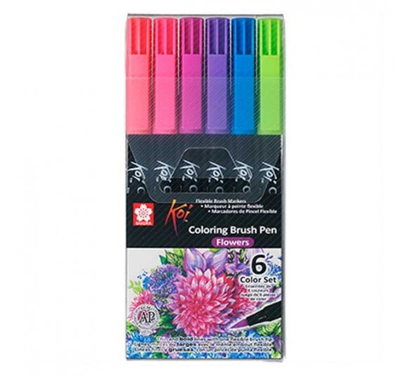 brush koi flowers 6 cores 1