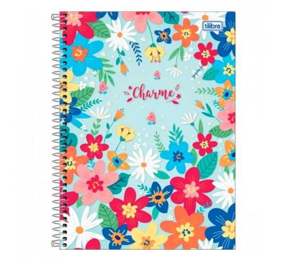 caderno espiral capa dura universitario 16 materias charme 256 folhas 302201 e3