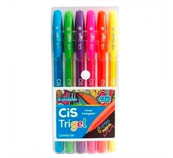 caneta trigel 6 cores