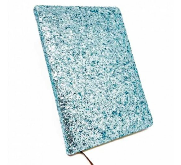 bloco de notas azul glitter