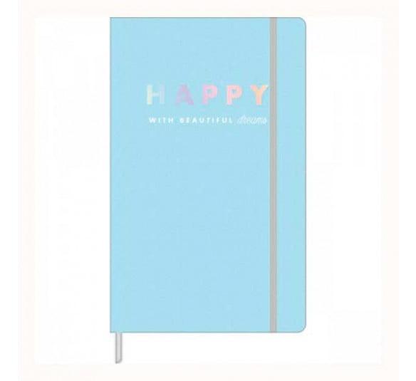 caderno pontilhado fitto happy azul