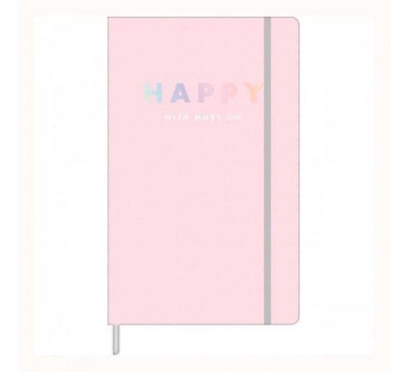 caderno pontilhado fitto happy rosa