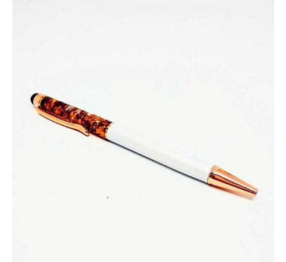 caneta esferografica touch branca e cobre