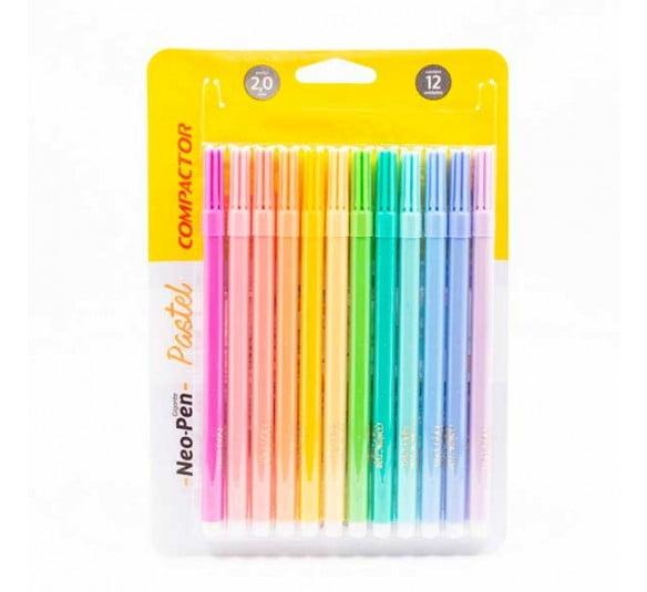 caneta hidrocor 12 cores compactor