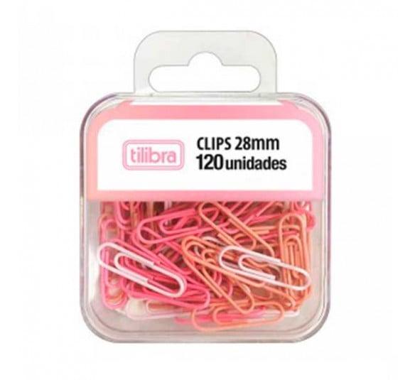 clips rosa pastel tilibra 120 unid