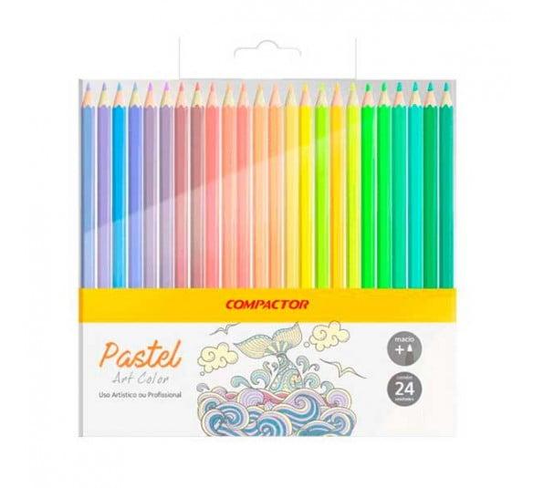 lapis de cor pastel 24 cores compactor