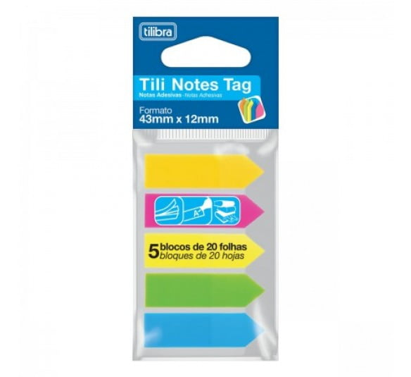 tili notes tag 43mmx12mm 100 folhas 5 cores 314749 1
