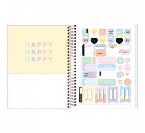 caderno capa dura colegial happy colors 10 materias 160 folhas 322733 2