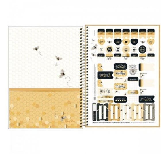 caderno espiral capa dura universitario 10 materias honey bee160 folhas 323012 2