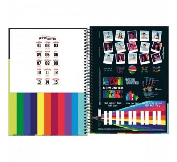 caderno espiral capa dura universitario 10 materias now united 160 folhas 318213 2