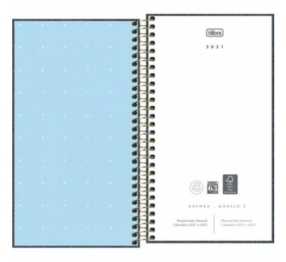 agenda executiva espiral semanal 167 x 9 cm cambridge denim 2021 315133 1
